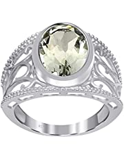 Orchid Jewelry 4.10 CTW Natural Oval-Shape Green Amethyst Gemstone Sterling Silver Ring For Women - February Birthstone - A Jewelry Gift Idea For Women Perfect Surprise On Christmas, Anniversary