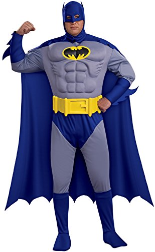 Cartoon Based Halloween Costumes (Batman: The Bold And The Brave Muscle Chest Batman Adult Plus Size, Blue, Plus Costume)