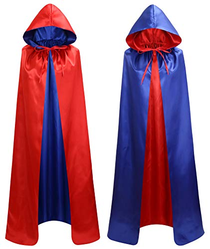 makroyl Unisex Reversible Hooded Cloak Cape for Christmas Halloween Party Vampires Cosplay Costumes (Red+Blue, Small)]()