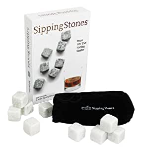 Sipping Stones Whiskey Rocks - Set of 9 White Whisky Chilling Stones - 100% Pure Soapstone