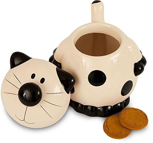 CERAMIC BLACK AND WHITE CAT COOKIE JAR