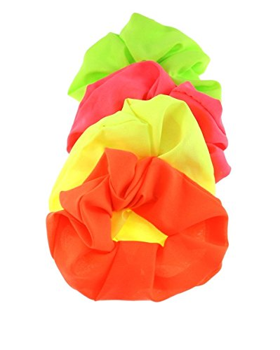 Zac's Alter Ego Set Of 4 Neon Hair Scrunchies - Pink, Orange, Green & - Orange Neon Pink And