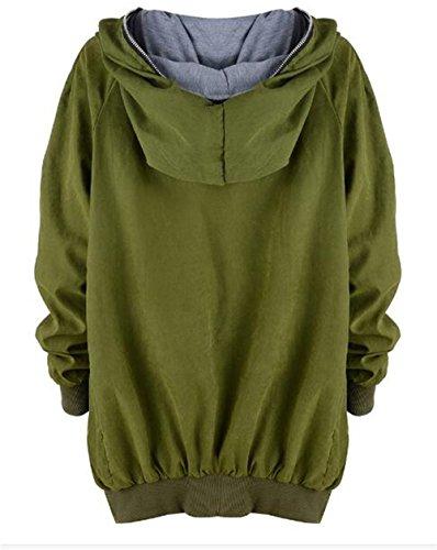 Outwear Jacket Mujer Irregular Con Sudadera Casuales Capucha AILIENT Cremallera Con Pullover Capucha Green Hipster Manga Con Chaqueta Coat Larga Invierno Abrigo UCwqttx6f