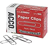 ACCO Economy Jumbo Paper Clips, Non-Skid, Steel Wire, 20 Sheet Capacity, Silver, 1 box of 100 Clips (A7072510G)