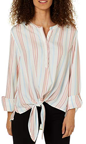 - C&C California Womens Striped Roll Tab Tie Front Top Medium White/red/Blue
