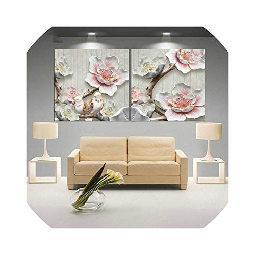 Wall Art Picture 3D Art Flower Lotus Poster Wall Art Modular Paintings for Kitchen Wall Pictures Living Room Canvas Painting,70Cmx70Cmx2Pcs,W Style