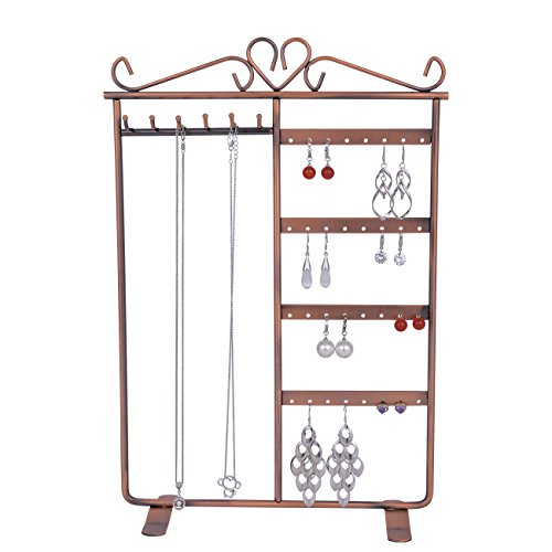 Earring Necklace Bracelet Jewelry Hanger Organizers Holder Sangyn Classic Metal 32 Holes 6 Hooks Display Tower (Bronze) (Dresser Drawer Tower Six)