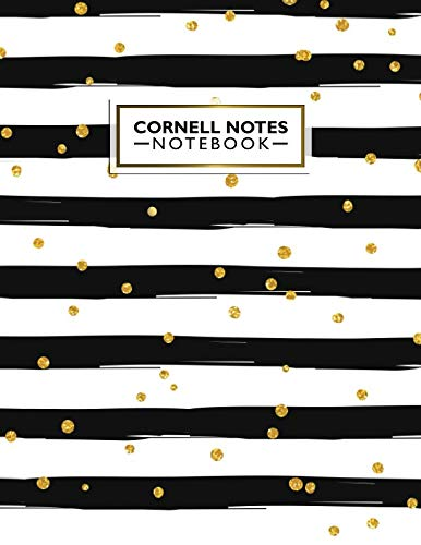 Cornell Notes Notebook: Pretty Cornell Note Paper Journal. Nifty Large College Ruled Medium Lined Note Taking System for School and University - Black & White Stipes + Gold ()