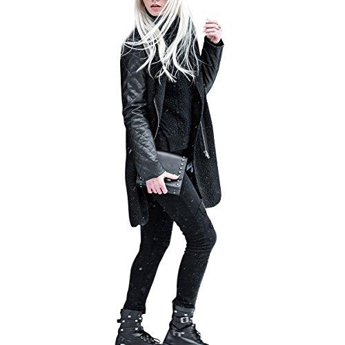 Donnagelia Abrigo para Mujer Chaqueta de mujeres Abrigo largo caliente Cuello Chaqueta Parka de invierno Desgastar Cuero de PU negro