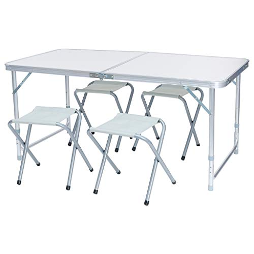 ASOBIMONO Camping Tables That Fold up Lightweight, Aluminum Portable Height Adjustable Desk with 4 Chairs for Picnic, Beach, BBQ, US Stock (White, 47×24×22-28 inch)