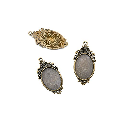 30pcs Jewelry Making Charms Jewellery Charme Antique Brass Tone Fashion Finding for Necklace Bracelet Pendant Earrings Repair DIY H3SV1 Oval Cabochon Setting Blanks (Oval Cabochon Setting Earring)