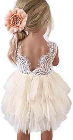 Topmaker Backless A-line Lace Back Flower Girl Dress