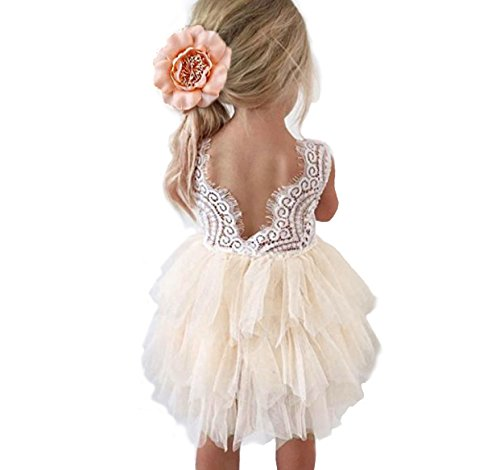 Backless A-line Lace Back Flower Girl Dress (4T, Ivory)