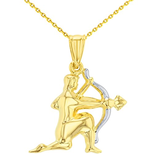 High Polish 14K Yellow Gold Sagittarius Zodiac Sign Charm Pendant with Chain Necklace, 20