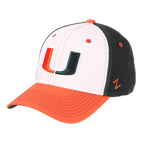 Zephyr NCAA Miami Hurricanes Men's Threepeat Relaxed Cap, White/Team Color, -