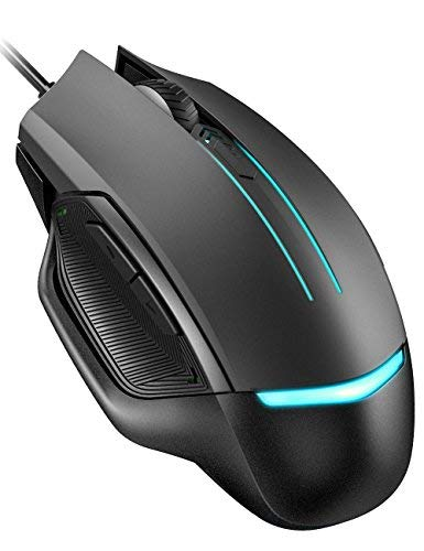 Pictek Gaming Mouse Wired, 3200 DPI, 6 Programmable Buttons (Driver Disk Included), Optical Gamer Gaming Mice with 7 Breathing Lights, Ergonomic Anti-Slip Structure for PC, Computer & Laptop, Black (Best Gaming Mouse For Dota)