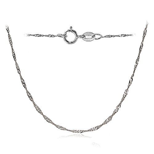 Bria Lou 14k White Gold .9mm Italian Singapore Chain Necklace, 24 Inches by Bria Lou