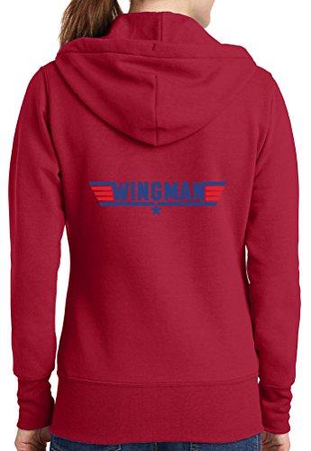 Womens Wingman Full Zip Hoodie, Red, 4X