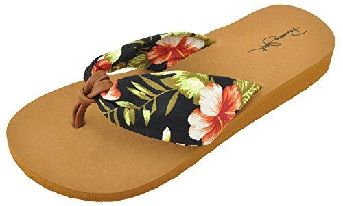 Panama Jack Ladies Island Girl Floral Wedge Flip Flop Sandal, Black, Size (Floral Flip Flop)