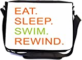 Rikki Knight Eat Sleep Swim Rewind Orange & Green Design Combo Multifunction Messenger Laptop Bag - with Padded Insert for School or Work - Includes Wristlet & Mirror