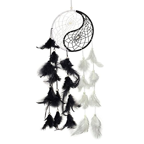 Odishabazaar Yin Yang Dream Catcher Wall Hanging - Attract Positive Dreams (white)