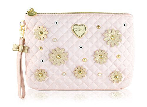 Small Quilted Cosmetic Handbag Quilt (Betsey Johnson LG Pouch Wristlet Cosmetic Bag Make Up)