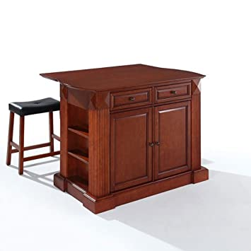Crosley Furniture Drop Leaf Kitchen Island Breakfast Bar With 24 Inch Upholstered Saddle Stools