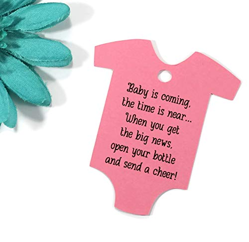 - Baby is Coming Shower Favor Tags - Bright Pink One Piece Shaped Gift Tags (Set of 40)