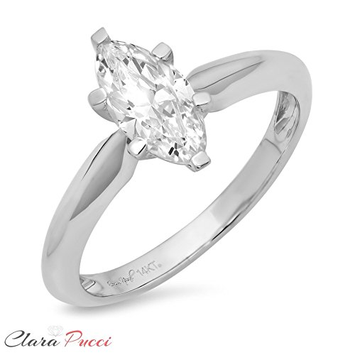 Clara Pucci 1.6ct Marquise Brilliant Cut Simulated Diamond Classic Solitaire Designer Statement Ring Solid 14k White Gold for Women, (14k Marquise Solitaire)