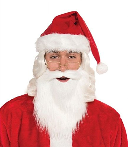 Popcandy Simply Santa White Beard and Mustache Christmas Costume Santa Claus Accessory ()
