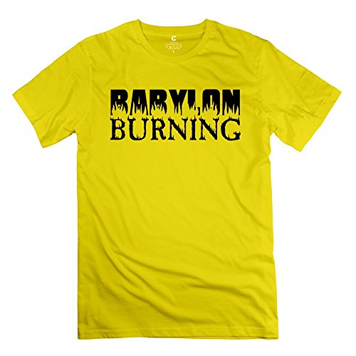 Men's Short Sleeve Babylon Burning T Shirt S Yellow