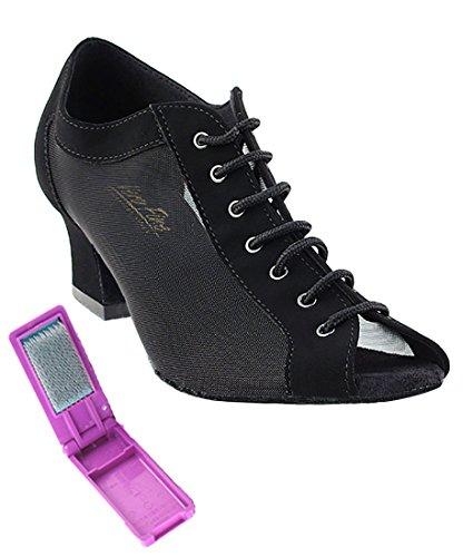 Très Belle Salle De Bal Latine Tango Chaussures De Danse De Salsa Pour Les Femmes -1643 - 2 Talon + Bundle De Brosse À Chaussures Pliable Noir Nubuck-noir Maille