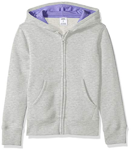 - Amazon Essentials   Girls' Fleece Zip-up Hoodie, Light Grey Heather S (6-7)