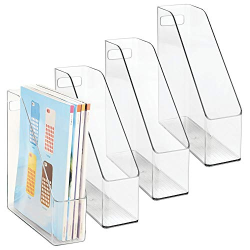 - mDesign Plastic File Folder Bin Storage Organizer - Vertical with Handle - Holds Notebooks, Binders, Envelopes, Magazines - Container for Home Office and Work Desktops - 4 Pack - Clear