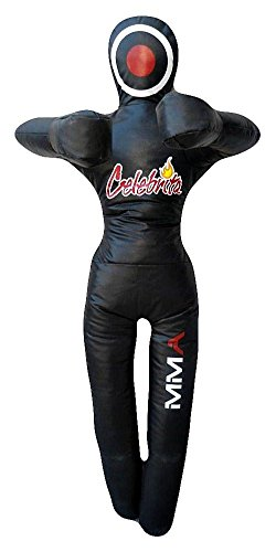 """Celebrita MMA Punching Bag Grappling Dummy unfilled - Standing - hands on chest MMA362 Black 59"""" Up to 45kg/99 lb"""