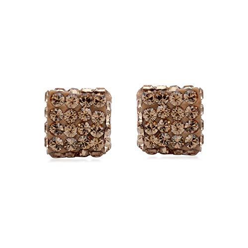 Ladies Ring 10kt Gold Jewelry - Jewelili 10KT White Gold champagne Topaz
