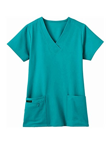 Jockey Women's Scrubs V-Neck Crossover Scrub Top, teal, S