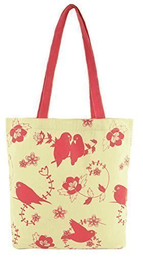 Cotton Canvas Bird Print Shopper Bag - Navy or Pink (Pink Birds) (Canvas Print Shopper)