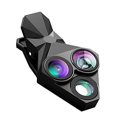 3 In 1 Clip On Fish Eye Mobile Camera Lens - Full Black Set - 1