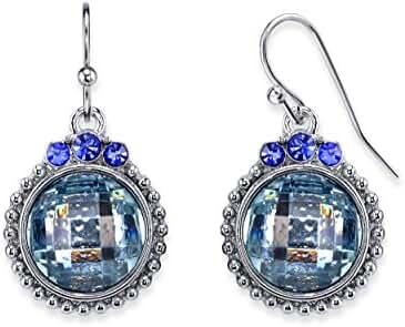 Silver-Tone Blue Round Drop Earrings