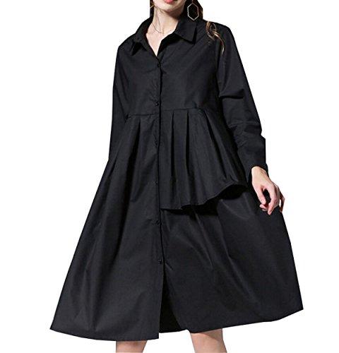 Falda Black La Tamaño Flojo Loto Gran Chlxi Camisa De RdBxqCO7