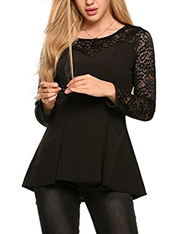 Beyove Women's Sexy Sweetheart Neck Floral Lace Long Sleeve Shirt Tops (Black, Small) - Sweetheart Neck Top