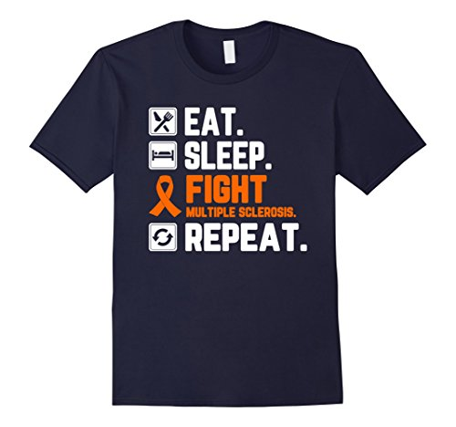Mens Eat Sleep Fight Multiple Sclerosis Awareness Repeat T Shirt 2XL Navy (Ms Awareness Color)