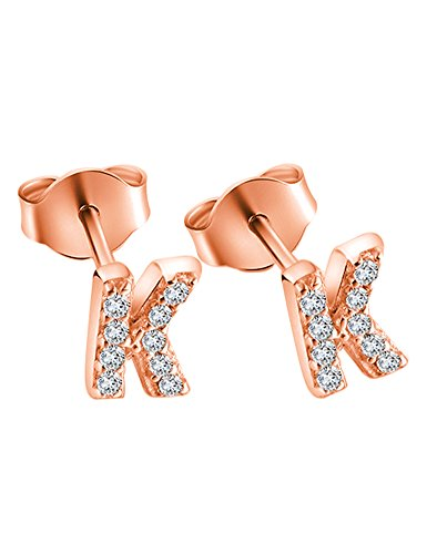 14K Rose Gold Plated Sterling Silver CZ Initial Letter K Stud Earrings