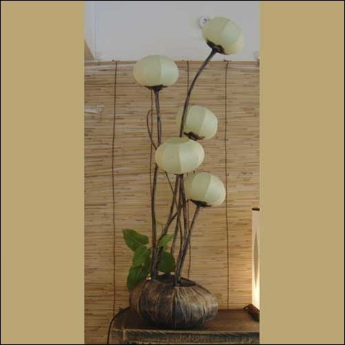 Mulberry Rice Paper Ball Handmade Five Flower Bud Design Art Shade White Round Globe Lantern Brown Asian Oriental Decorative Accent Home Decor Bedroom Table Floor Lamp