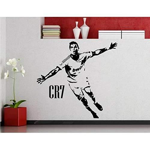 Matériau écologique Décoration de sticker mural, étoile de football créative Cristiano Ronaldo Stickers muraux autocollant mural amovible noir Speedmar UK