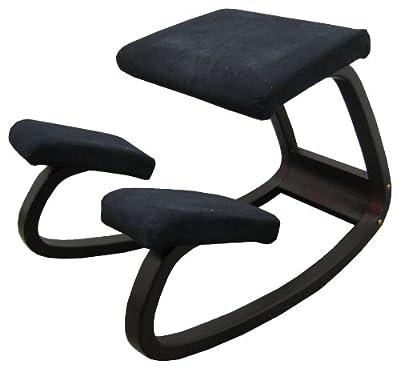 Sierra Comfort SC-205B Ergonomic Kneeling Chair (Black Fabric / Dark Wood) by SierraComfort