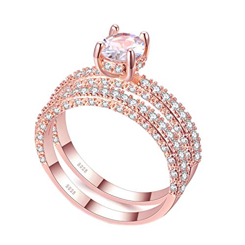 Rose Gold Double Row White Gold for Women Cubic Zirconia Wedding Engagement Ring,8,H12