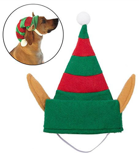 [Dog Elf Hat for Party Small BBPET] (Dog Outfits For Christmas)