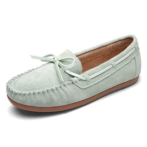 HWF Chaussures femme Pois de printemps chaussures chaussures plates femmes A pédale chaussures de femmes chaussures de sport paresseux chaussures de conduite ( Couleur : Rose , taille : 37 ) Vert